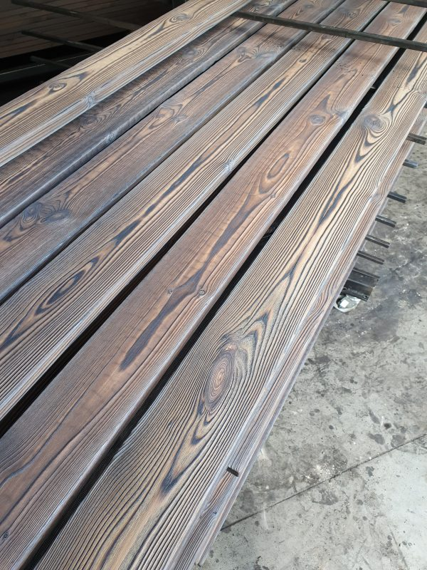 Light grey charred pine decking