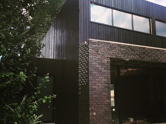 Charred wood cladding