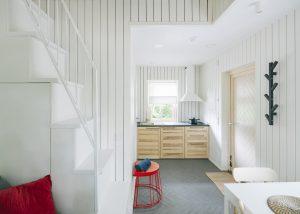 Charred wood spruce cladding in interior design