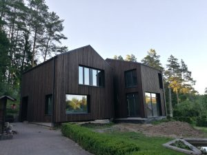 Blackened wood cladding