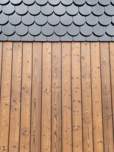 Redwood siding wall